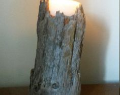 Handmade driftwood candle holder by Yourpieceofthebeach on Etsy