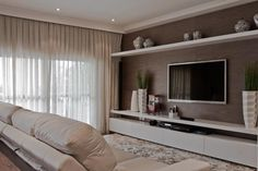 Home Theater Planejado Sala Branco 52 Ideas Home Living Room, Living Room Designs, Living Room Decor, Tv Wall Ideas Living Room, Living Room Tv Unit, Sala Grande, Home Theater Design, Luxury Homes, House Design