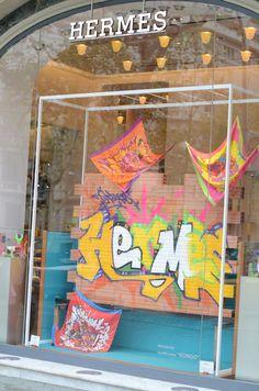 Hermes goes Graffiti Classroom Wall Displays, Classroom Walls, Hermes Window, 30 Day Art Challenge, Window Display Design, Window Displays, Scarf Display, Graffiti, Scarf Storage