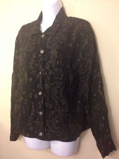 "Chico's CHICO EGYPTIAN PRINT BLOUSE BUTTON DOWN JACKET 3 NICE!~ Bust 45"" size 2 #Chicos #ButtonDownShirt"