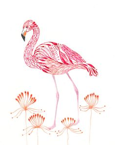 Pink Flamingo bird art print size 8x10 by TevaGallery on Etsy