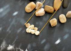 SALE10%) A-088 Cubic flower necklace, Simple necklace, Modern necklace, Gold plated/Bridesmaid/gifts/Everyday jewelry/