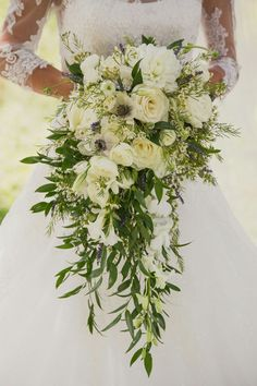 Beautiful Cascading Bride's Bouquet With: White Chrysanthemums, White Roses, White Ranunculus, White Anemones, White Wax Flower, White Freesia, Fresh Lavender + Several Varieties Of Greenery/Foliage>>>>