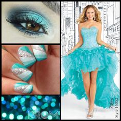 """Tiffany Designs 16052 with a high-low skirt and heavily beaded bodice in the color """"Mermaid"""". Perfect for Prom 2014."""