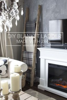 DIY Blanket Ladder Made with 2 x 4s - http://akadesign.ca/blanket-ladder-made-with-2-x-4s/