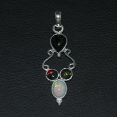 925 STERLING SILVER NATURAL ETHIOPIAN WELO FIRE BLACK OPAL PENDANT JEWELRY 105