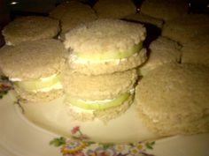 Cucumber Sandwiches - Rye Bread cut with a Biscuit Cutter, thin sliced Cucumber and Green Mountain Farms Cream Cheese & Greek Yogurt Spread. Very tasty!! This is great Tea Party Food or makes a great appetizer.