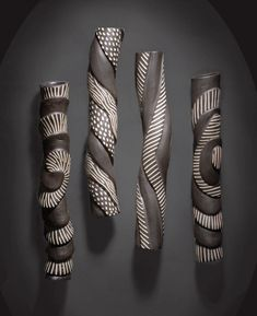 Sculptural Wall Tube Set: Larry Halvorsen: Ceramic Wall Art - Artful Home