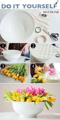 truque para montar arranjo de flores, decoração casa, diy, flowers