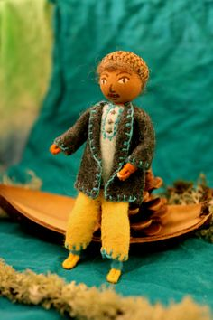 father acorn bendy doll natural materials wool felt Waldorf by WoolseyPlace, $30.00