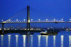 Rosario-Victoria bridge at night, Rosario, Argentina