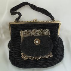 Black Beaded Purse, Elegant Evening Handbag, Unique vintage couture cocktail bag, OOAK, La Marelle Couture.