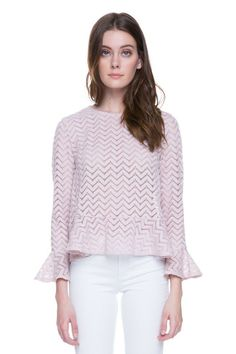 Lucinda pink semi peplum top. Beautiful pattern with long bell sleeves