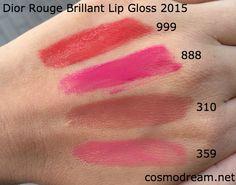 Свотчи новых блесков Диор Dior Rouge Brillant Lip Gloss swatches