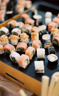 Sushi appetizers! {Photo by Scott Andrew Studio via Project Wedding}