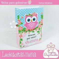 Bolsa para golosinas Lechucitas nena  - Tarjetas Imprimibles Facial Tissue, Kit, Owl Parties, Goody Bags, Printable Cards, Barn Owls, Little Birds