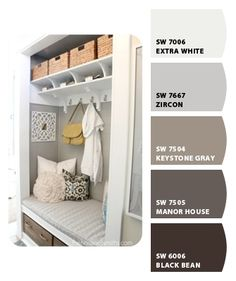 love this look for basement bath/mud room.  Think I want some enclosed cabinets, too.  nice gray color
