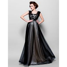 A-line Square Floor-length Tulle Evening Dress