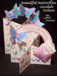 Beautiful Butterflies Cascade Deluxe on Craftsuprint designed by Carol Dunne - A pretty cascade deluxe card decorated with pastel butterflies. Some of the butterflies stand out as if they are flying. Click on the tutorial to see how easy it is to make. Stands up on it's own but folds flat for posting. Kit contains a mini envelope and mini writing paper for a mini message. - Now available for download!