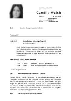 cv sample curriculum vitae camilla - Format Of Curriculum Vitae Cv