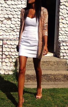 sequin cardigan & white dress. Would be prettier if my legs wouldn't match the white so well.