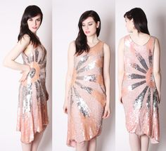 Silk Sequin Beaded Coral Pastel Peach and Silver Art Deco Flapper Dress / Coral Sequin Wedding Dress / Sequin Prom Dresses / 2020. $385.00, via Etsy.