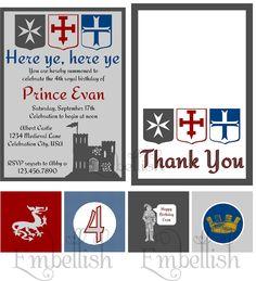 PRINTABLE DIGITAL FILE Castle Dragon Knight Medieval Party Printables