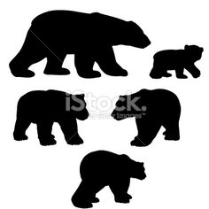 Polar bear silhouette collection with cub Royalty Free Stock Vector Art Illustration