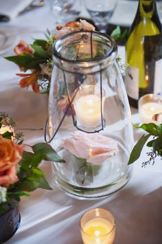 Glass lanterns and flowers