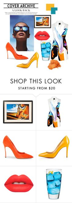"""sUMMER bOOM"" by yuliagural ❤ liked on Polyvore featuring Josh Goot, Le Specs, Casadei, Lime Crime, Libbey, Summer, orange, aqua, blazers and dali"