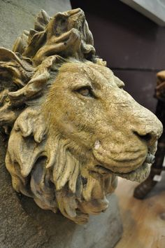 Looks like Aslan from Chronicles of Narnia!!!French concrete lions head for fountain c.1950