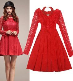 Morpheus Boutique  - Red Hollow Out  Long Sleeve Pleated Celebrity Dress