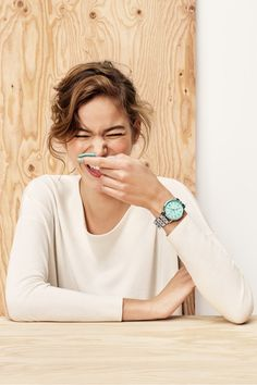 Our classic boyfriend Vintage Muse watch in a pop of seaglass is this season's must-have.