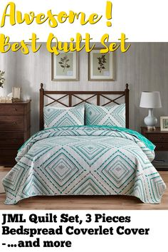 JML Quilt Set, 3 Pieces Bedspread Coverlet Cover - Soft Brushed Microfiber, Lightweight Printed Bedspread Set (White/Green, King 92'x104') (This is an affiliate pin) Quilt Sets, Bedspread, Linen Bedding, 3 Piece, Comforters, King, Quilts, Blanket, Printed