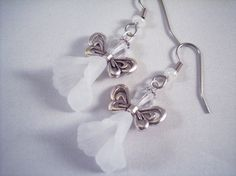 Small Calla Lily Angel Earrings White by TheButterfliesGarden #handmade #earrings #jewelry #angels #white #wings #wedding #silver #flower #fairy #gift #bridesmaid #garden #cute #small #little #short #calla #lily