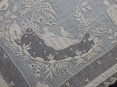 Antique Embroidered Linen Handkerchief Figural Museum Quality **Rare** (06/16/2014)