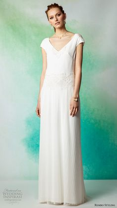 rembo styling 2017 bridal cap sleeves v neck lightly embellished bodice simple elegant bohemian sheath wedding dress sweep train (anakin) mv