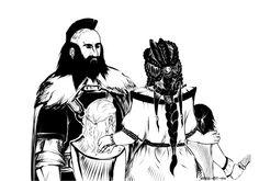 Dís with Fíli, Kíli and Dwalin. I love her hairstyle, sooo pretty!!