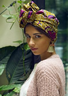 Wire head wrap - pink African print - MAWA