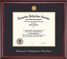Classic with School Seal Medallion - more single #diploma frames on the #Rensselaer bookstore website!