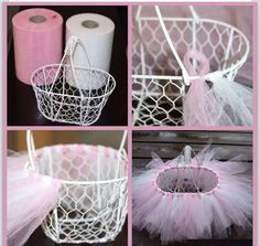 Easy DIY Tutu Easter Basket – (Louise) Maybe use burlap ribbon and make it into a flower girl basket?DIY craft idea also good for gift baskets, home décor.DIY a lovely Tutu Easter basket: Top 27 Cute and Money Saving DIY Crafts to Welcome The East Diy Tutu, Tulle Tutu, Easter Crafts, Holiday Crafts, Easter Subday, Easter Decor, Easter Food, Bunny Crafts, Easter Dinner