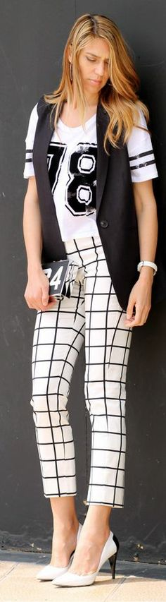 Mango Black And White Windowpane Ankle Trousers 3 trends in 1   windowpane, sporty spice and black and wht