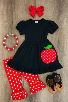 Girl's cute 2 PC set Black shirt, red pants with white polka dot pants. This adorable boutique style outfit is perfect for your little girl this Back . Little Girl Outfits, Cute Outfits For Kids, Little Girl Fashion, Toddler Girl Outfits, Toddler Fashion, Kids Fashion, Fashion Clothes, Dress Fashion, Trendy Baby Clothes
