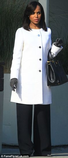 Clever styling  The loose-fitting coat covered Kerry s changing figure f7eced3b5f7