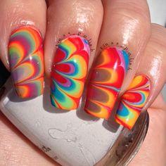 Instagram photo by tinas_polish  #nail #nails #nailart Love Nails, Pretty Nails, Fun Nails, Beautiful Nail Designs, Cool Nail Designs, Nail Garden, Water Marble Nail Art, Water Nails, Finger Nail Art