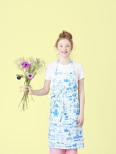 Designed by Marika Maijala Material: linen & cotton Size: x 2 big pockets in the front Blue Apron, Helsinki, Pattern Design, Cotton, Kitchen, Fashion, Moda, Cooking, Fashion Styles
