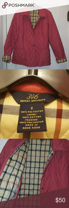 Brooks Brothers 346 Quilted Plaid Coat Beautiful jacket with the Burberry plaid look! Jacket has a snap front, 2 pockets, and is made 100% of polyester. See pic #4. Small ink spot, but can probably be treated. Price reflects! Color is like a mauve. Brooks Brothers Jackets & Coats