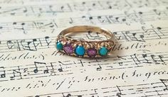 Vintage Turquoise Amethyst ring gold Gemstone band ring Heirloom jewelry gift for her Unique wedding band Statement jewelry gift Stack ring by JoysTinyTreasures on Etsy