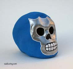 Blue Demon Skull Mini Day of the Dead Paper Mache by saide on Etsy, $25.00