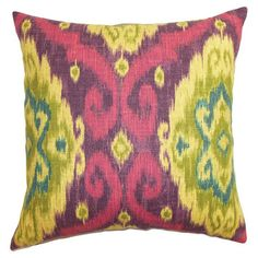 Bring a pop of boho-chic style to the sofa or guest bed with this colorful cotton pillow, showcasing an ikat-inspired pattern.  Prod...